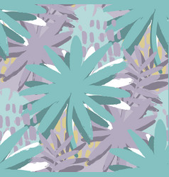 graphic seamless pattern of exotic leaves in vector image
