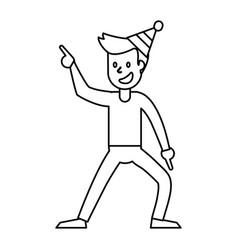 Guy dance celebrate funny outline vector