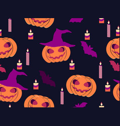 halloween seamless pattern with pumpkins candles vector image