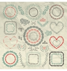 Hand Sketched Floral Frames Borders vector image
