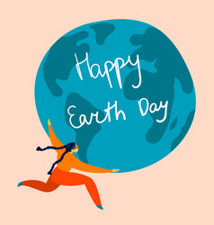 happy earth day holiday woman holds globe vector image