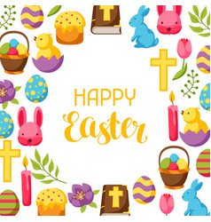 Happy easter frame with decorative objects eggs vector