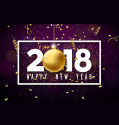 happy new year 2018 with white vector image