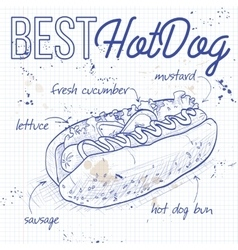 Hot dog recipe on a notebook page vector