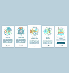 Hotel booking onboarding mobile app page screen vector