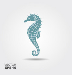 Icon seahorse with shadow vector