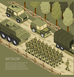 Isometric military campaign background vector