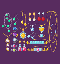 jewelry items beauty woman accessories shop vector image