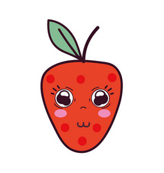 Kawaii cute tender strawberry fruit vector