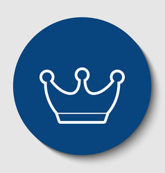 King crown sign white contour icon in vector