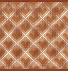 Knitted seamless pattern with hearts vector