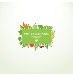 Label with fresh fruits and vegetables vector image