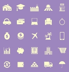 Loan color icons on violet background vector image