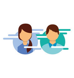 man and woman profile avatar characters vector image