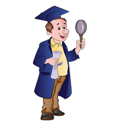 man graduate with diploma and magnifying glass vector image