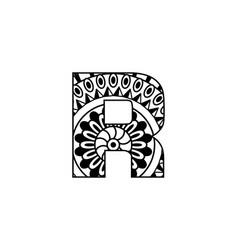 Mandala letter r monogram adult coloring book vector