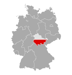 Map of Germany with flag of Thuringia vector