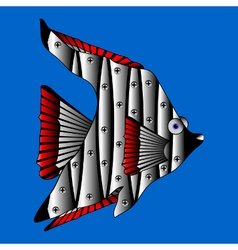 Mechanical fish on white vector image
