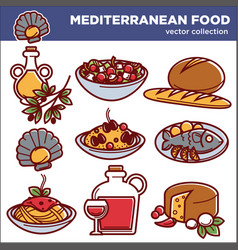 mediterranean cuisine food dishes icons set vector image
