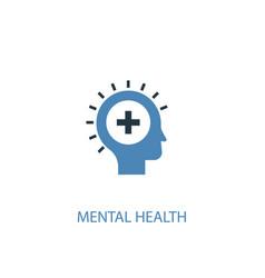 Mental health concept 2 colored icon simple blue vector