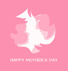Mother with her baby stylized pink silhouettes vector