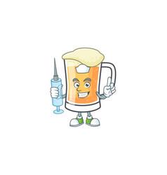 Mug beer in a nurse character vector