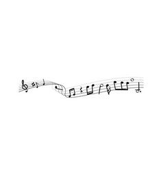 music notes silhouettes monochrome abstract vector image