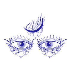 Mystic eyes sight and moon month esoteric vector