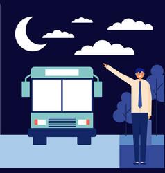 nigth man taking bus vector image