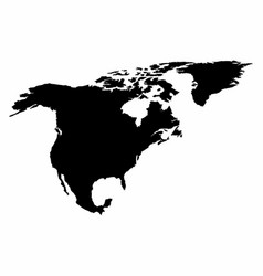 north america silhouette map vector image