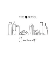 one continuous line drawing cincinnati city vector image