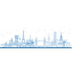outline famous landmarks in europe vector image