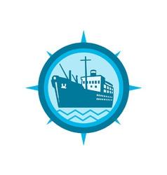 Passenger Ship Cargo Boat Retro vector