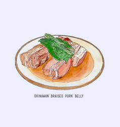 Pork belly dish okinawan cuisine hand drawn vector