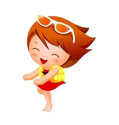Portrait of happy girl vector image