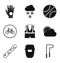 Protective thing icons set simple style vector