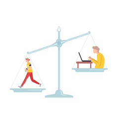 running male athlete is on one side scales vector image