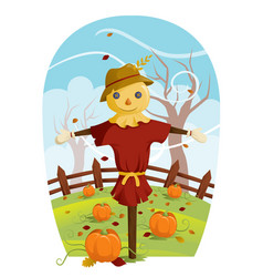 Scarecrow for fall harvest vector