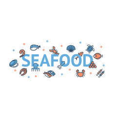 seafood poster banner card with color thin line vector image