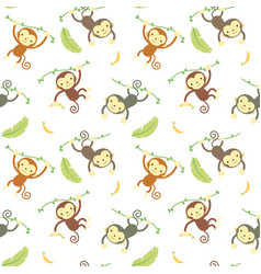 seamless pattern monkey vector image
