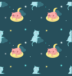 Seamless pattern with cute sleeping cats vector