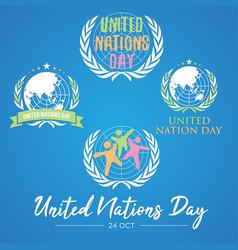 Set colorful letter united nation day vector