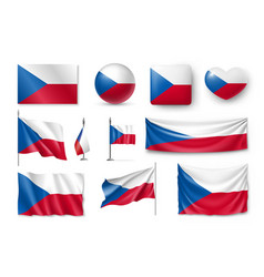 set czech republic flags banners banners vector image