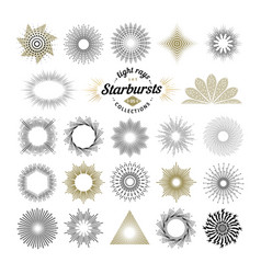 set handmade sunburst design elements vector image