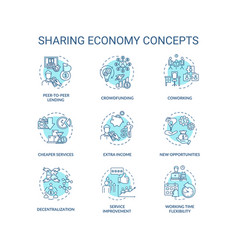 Sharing economy turquoise concept icons set vector