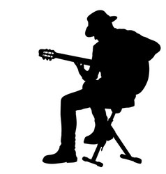Silhouette musician plays guitar on a white vector