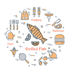 Simple set icons for cooking on grill vector
