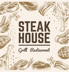 sketch meat background grill food menu vintage vector image