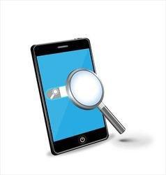 Smartphone and magnifying glass vector