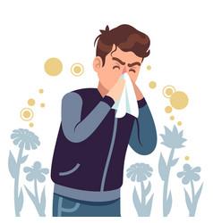 Sneezing man spring allergy symptom sickness vector